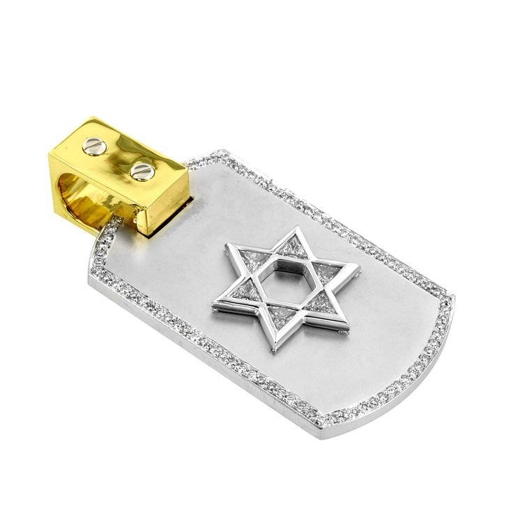 Star of David dog tag with pave set diamonds