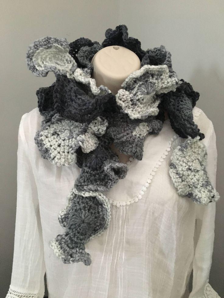Handmade freeform crochet scarf women scarf irregular unique design by HeartsandrosesCrafts on Etsy