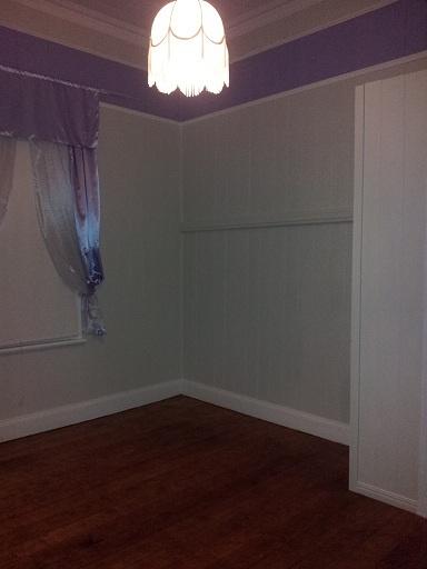 Bedroom 3 - Removed old carpet - polished floors - gapfilled vj timbers - lavender trim