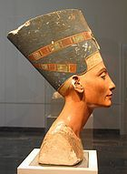 The Nefertiti Bust is a 3300-year-old painted limestone bust of Nefertiti, the Great Royal Wife of the Egyptian Pharaoh Akhenaten and is one of the most copied works of ancient Egypt. Due to the bust, Nefertiti has become one of the most famous women from the ancient world as well as an icon of female beauty. It is believed to have been crafted in 1345 BC by the sculptor Thutmose.