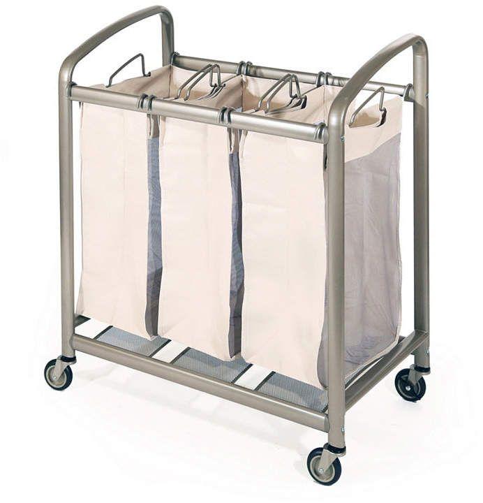 Seville Classics Deluxe Mobile 3 Bag Heavy Duty Laundry Hamper