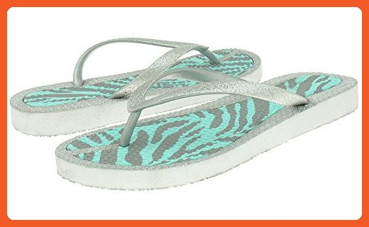 0a6a90dbaace Capelli New York Fine glitter opaque jelly thong on a zebra stripes Ladies  Flip Flop Mint 9 - Sandals for women ( Amazon Partner-L…