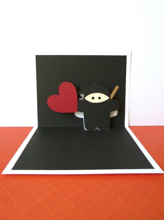 Personalized Ninja Pop Up Card by CookieBits on Etsy, $5.85