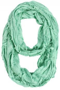 Cecily Crinkled Infinity Scarf - Mint Green. {Scarves Dot Net}