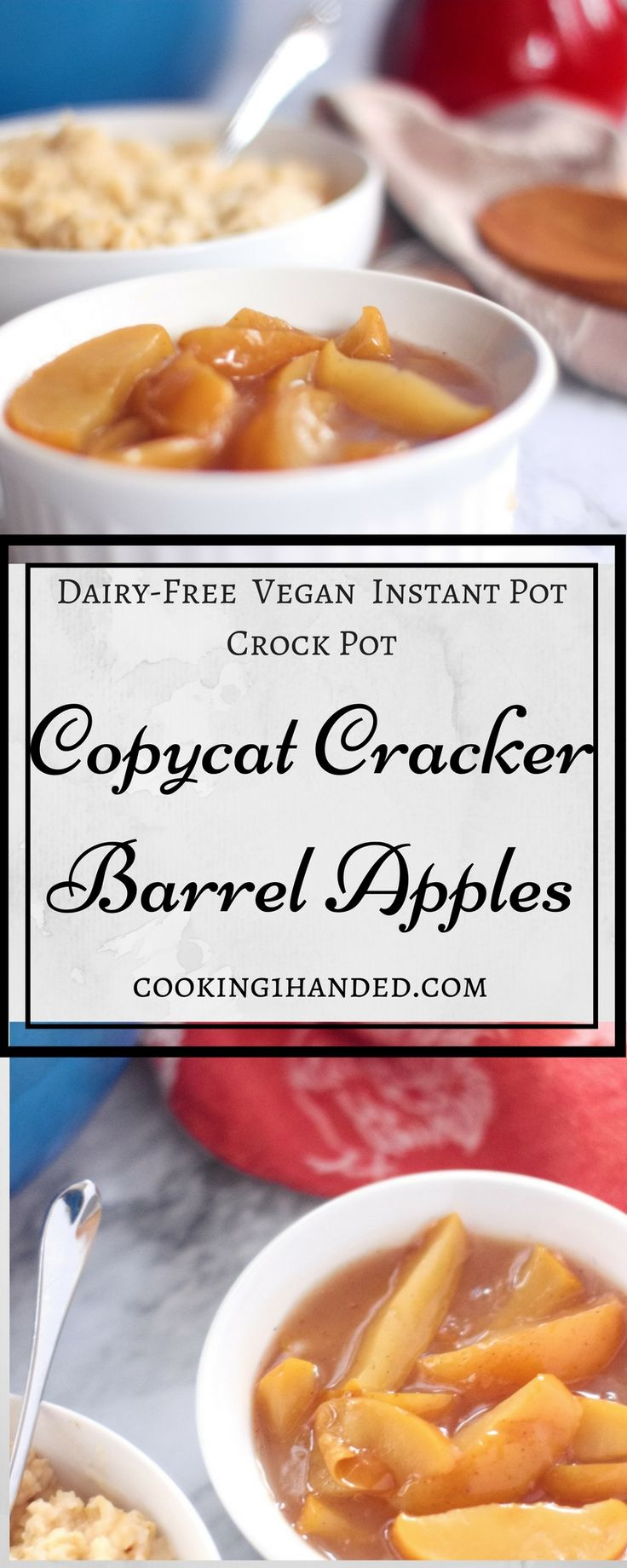 These copycat cracker barrel apple slices can be made in the crock pot, instant pot, or stove top. The best part? They're easy, vegan, dairy free, and gluten free. Perfect for any allergy, they make breakfast special. A great side dish for pork chops too.