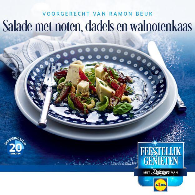 #Salade met noten, dadels en walnotenkaas #Voorgerecht #Kerst 20 min