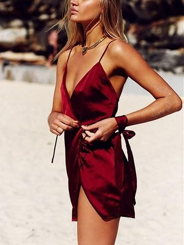 Burgundy Wrap Self-Tie V-Neck Mini Dress