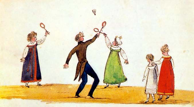 "c. 1812. I could always do a ""jumper dress"" instead of an underdress... """"Mrs. Van [Hagen] and Harry Sperling fighting for the shuttlecock"" -- watercolor by Diana Sperling, about 1812."