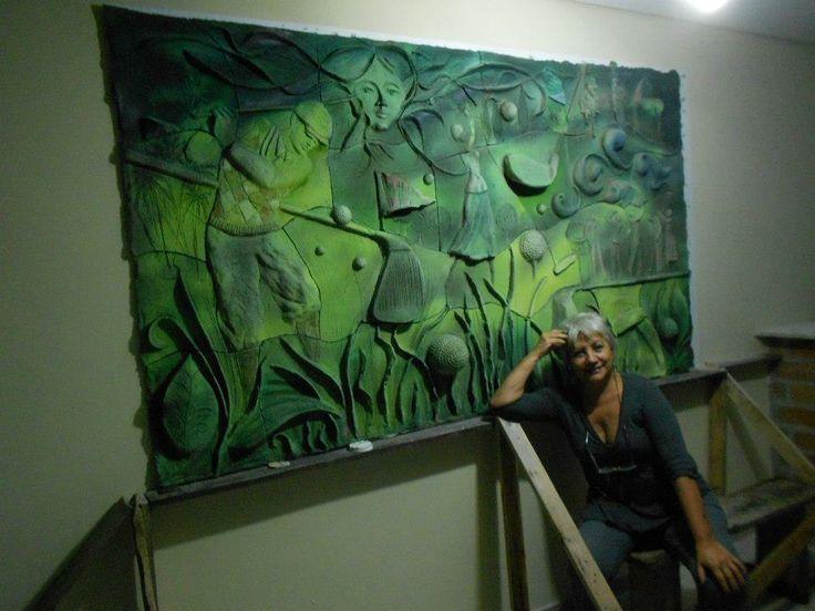 Mural recién colocado. Cerámica. Campo de Golf. Cristina del Castillo