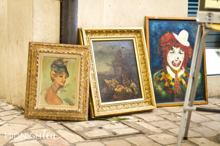 Vintage french art with gold frames. Found at a flea market in Southern France (Uzes)