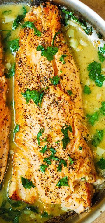 Trout with Garlic Lemon Butter Herb Sauce - 30 minute recipe. Italian herb seasoning, chopped fresh parsley and garlic.