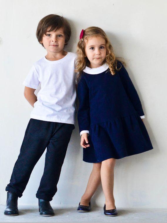 WHITE COLLAR dress in navy blue - G i r l s