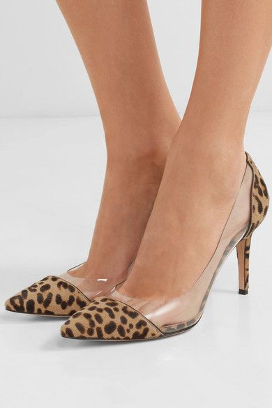 a83726b91ef Gianvito Rossi | Plexi 85 leopard-print calf hair and PVC pumps ...