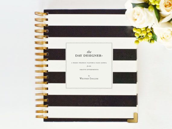 March Ship Date ALREADY AUTHENTIC Day Designer - JANUARY 2014 - 2015 Black Stripe - Yearly Planner & Daily Agenda, Calendar, Organizer