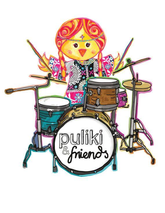 Pollita Carolina playing the drums / Pollita by PulikiAndFriends, $12.00