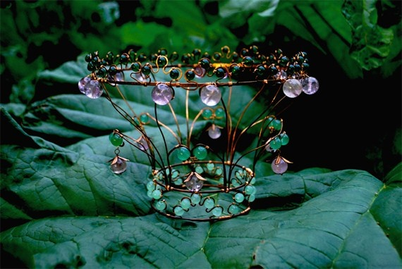 "Nr I:""Where Adam met Eve"" Wirework crown of copper, jade and amethyst. #wedding #wirework #art"