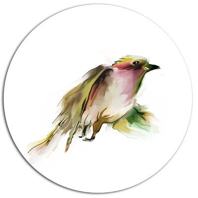"DesignArt Nice Flight of Wild Bird on White Oil Painting Print on Metal Size: 38"" H x 38"" W x 1"" D"