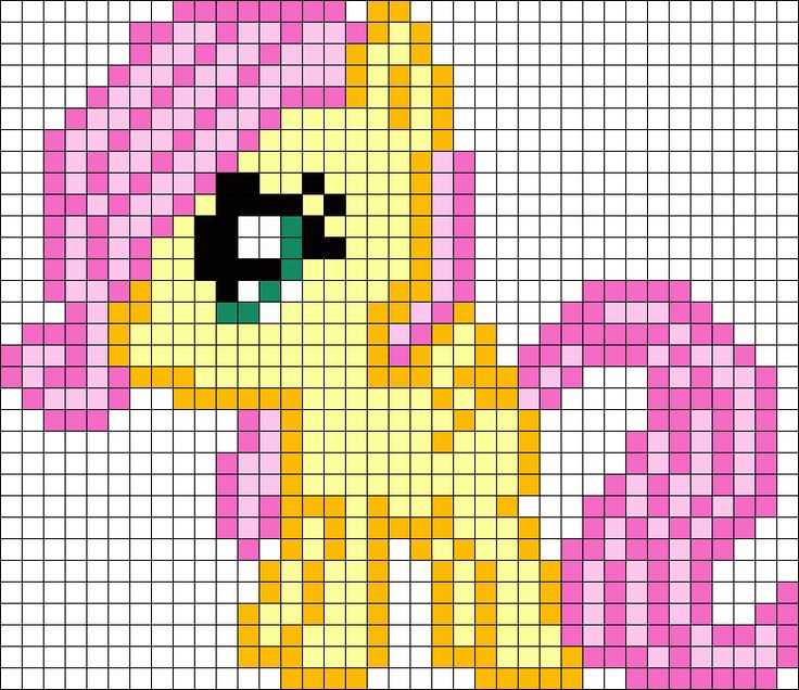 Filly Fluttershy My Little Pony Perler Bead Pattern / Bead Sprite
