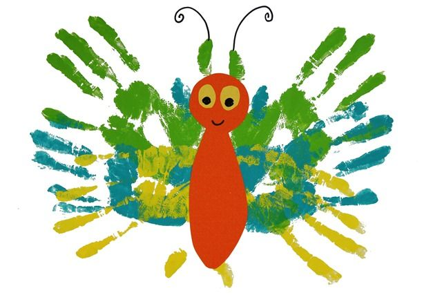 Very hungry caterpillar craft. When the caterpillar turns into a butterfly--use your child's hand prints to make beautiful wings! They'll love the feel of the paint on their hands.