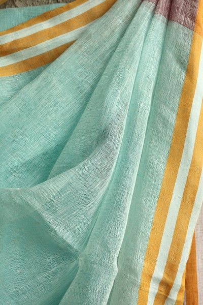Sea Green Linen Saree Red and Grey Stripes Ilkal Saree  #linen #handwoven…