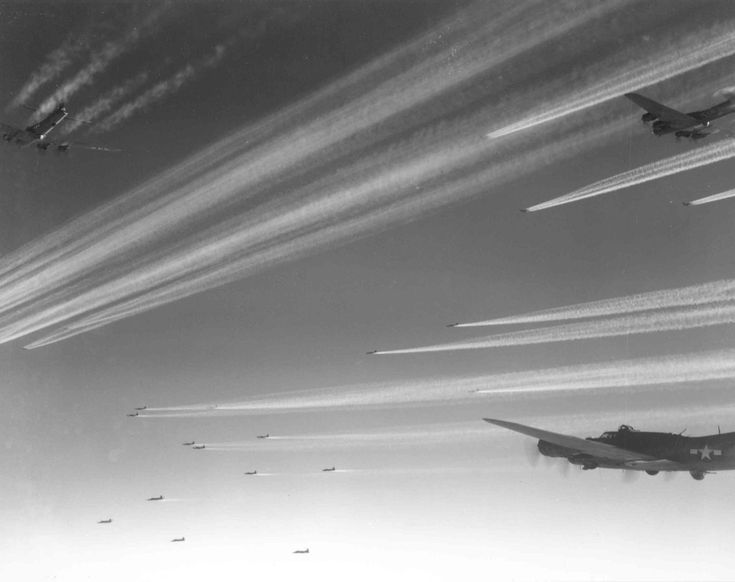 Formation of B-17F Flying Fortress bombers of USAAF 92nd Bomb Group over Europe, circa 1943