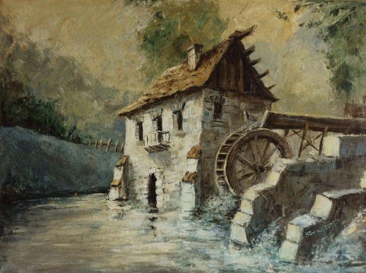 Młyn wodny   Old Mill ©Katarzyna Krasowska 2015 Akryl na płótnie
