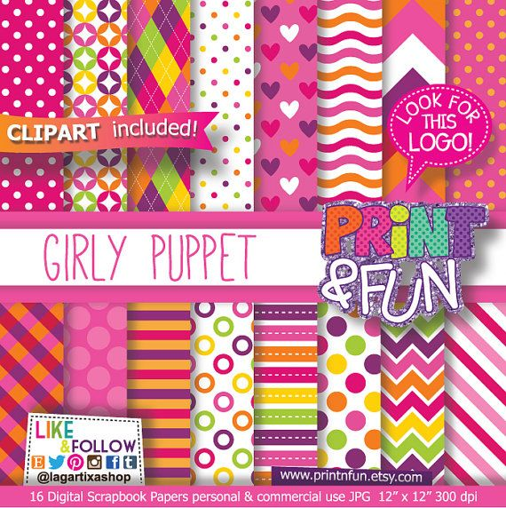 Girly, Digital Paper, Pink, Orange, Lime Green, Yellow, Patterns,Backgrounds, Clip art, Clipart, Fuchsia, Hot Pink, Red, chevron, dots