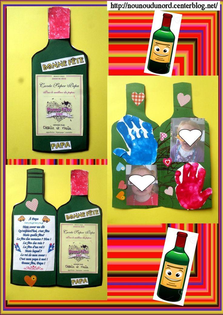 Carte bouteille de vin pour la fête des pères gabarit et étiquette sur mon blog ,http://nounoudunord.centerblog.net/4011-carte-bouteille-de-vin-pour-la-fete-des-peres