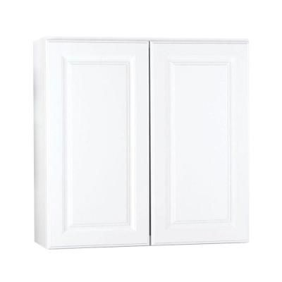 Hampton bay 30x30x12 in hampton wall cabinet in satin for White laundry room cabinets home depot