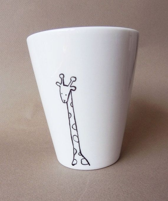Giraffe, hand painted white porcelain mug by PaintMyName. Try this with the Porcelaine 150 markers: http://en.pebeo.com/Creative-leisure/Decorate-surfaces/Porcelaine-150