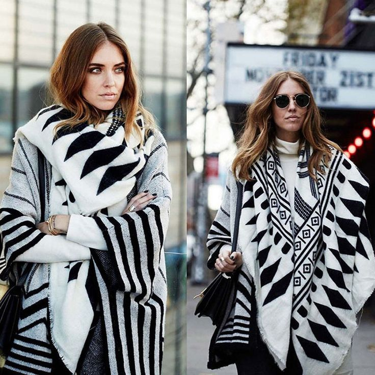 European-Style Black/White Geometric Fashion Long Shawl Scarf