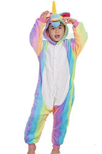 4d4232ef201bf Kenmont Déguisement Combinaison Licorne Pyjama Grenouillère Enfants Animal  Pyjamas Costume à capuche Halloween Carnaval Noël Fête