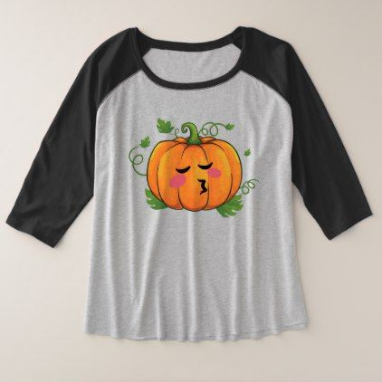 Pumpkin Kiss Emoji Thanksgiving Halloween Plus Size Raglan T-Shirt - Halloween happyhalloween festival party holiday