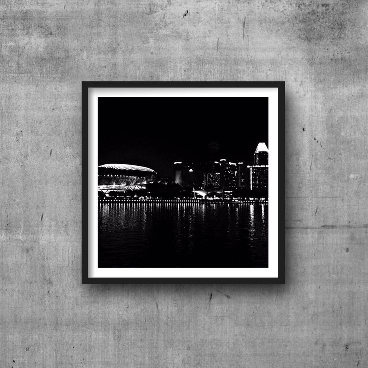 evening city skyline photography downtown black and white wall art home decor