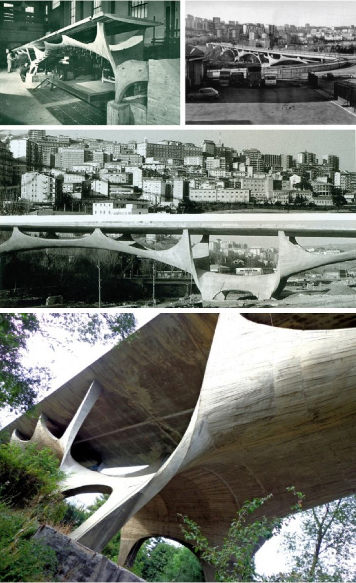 Sergio Musmeci, Bridge over the Basento River, Potenza, Italy 1976 /   Built of of a single membrane of reinforced concrete 30 cm thick - a real innovation for the time.