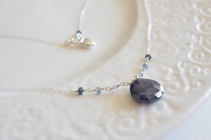 Blue Sapphire & Heart Charm Shiny Sterling Silver Necklace. $36.00, via Etsy.: Silver Necklaces, Charms Shiny, Shiny Sterling, Necklaces Ii, Blue Sapphire, Sterling Silver, 36 00, 3600, Heart Charms