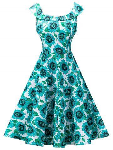 Vintage Sunflower Print High Waist Dress - GREEN 2XL