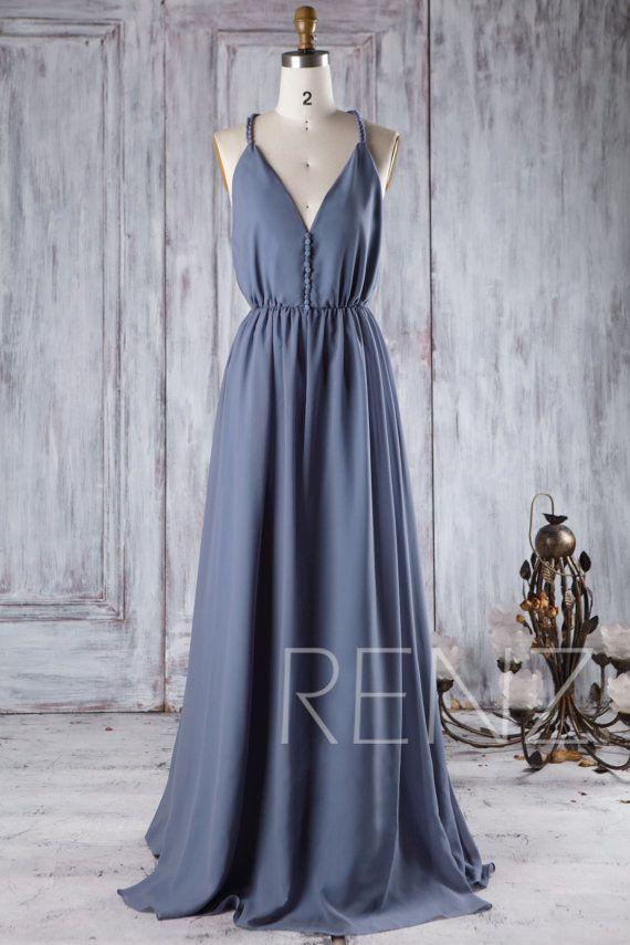 2016 V Neck Chiffon Bridesmaid Dress Steel Blue by RenzRags