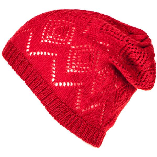 Red Cashmere Pointelle Slouch Beanie (910.925 IDR) ❤ liked on Polyvore featuring accessories, hats, saggy beanie, cashmere beanie hat, cashmere hat, red hat and beanie hats