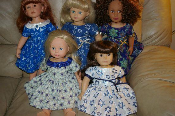 Hanukkah dress for 18 inch doll by sandidoll on Etsy, $17.00