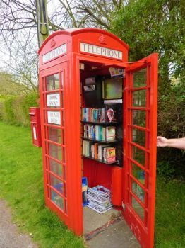 Old English Telephone Booth Book Swap (80 pieces)