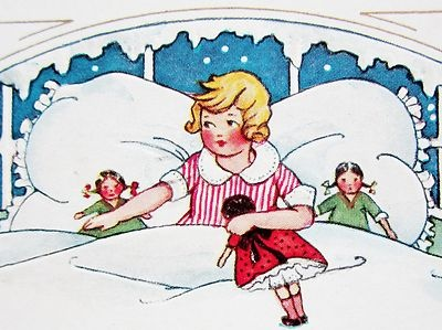 Art Deco Christmas Girl in Bed with Toys Postcard Emb Whitney | eBay