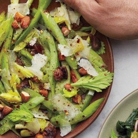 celery salad with dates almonds and parmesan celery salad parmesan ...