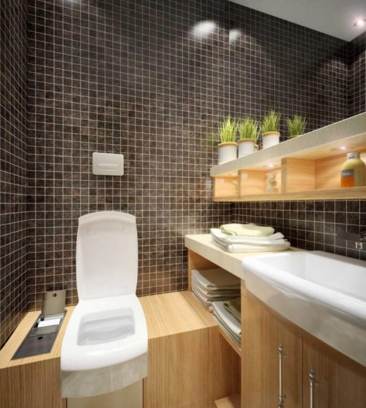 cute small bathroom with black tile