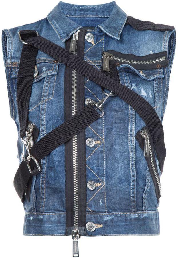 Dsquared2 zipper strap denim gilet