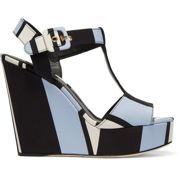 Dolce & Gabbana Striped canvas wedge sandals found on Polyvore featuring shoes, sandals, wedges, heels, dolce & gabbana, light blue, block heel sandals, t strap wedge sandals, strappy wedge sandals and heeled sandals