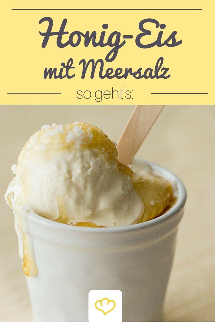 Gerade mal 4 Zutaten und eine Gefriertruhe braucht man um dieses herrlich erfrischene Honig-Eis mit Meersalz zuzubereiten.