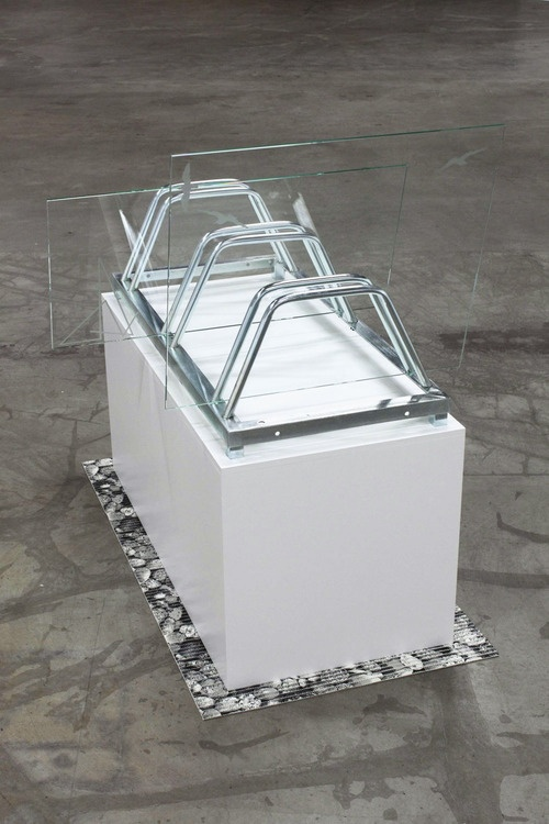 beuys:  Marte Eknæs: Urban Planning, 2010  Bicycle rack, glass with etching, anti-slip mat