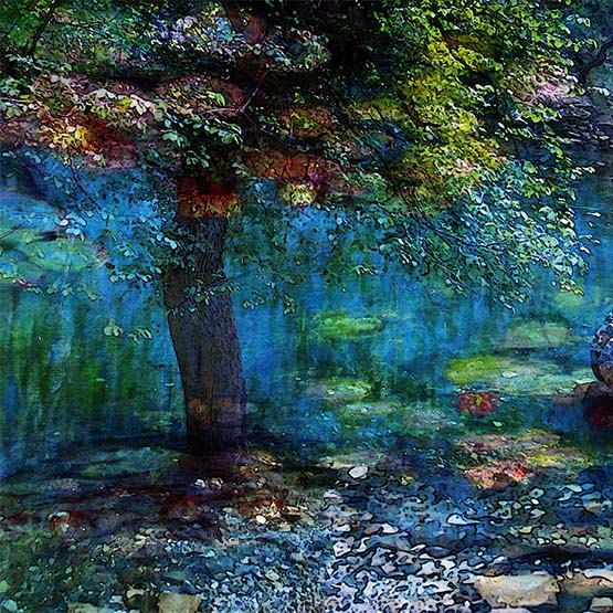Very beautiful! Talented artist! Nature, Landscape, Springtime, Fine Art Print, Giclee Archival Print, Photomontage, Collage, Painted Photographs,. $30.00, via Etsy.