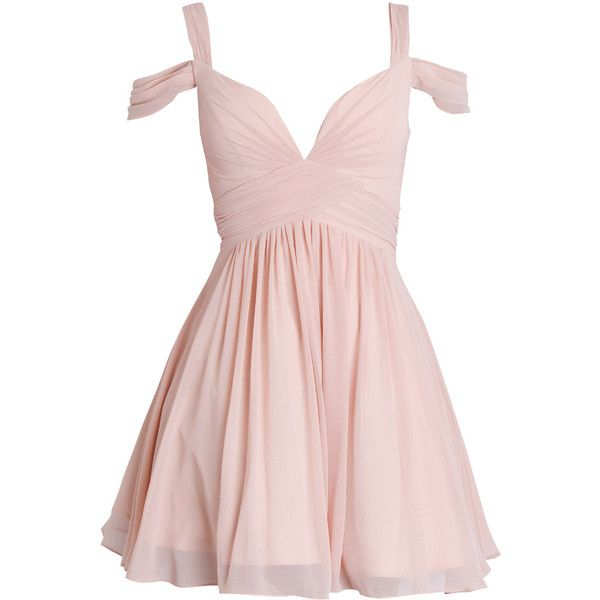 LILY - Dusty White Chiffon Prom Dress ❤ liked on Polyvore featuring dresses, vestidos, short dresses, pink, chiffon dresses, short chiffon dress, white prom dresses, prom dresses and white mini dress